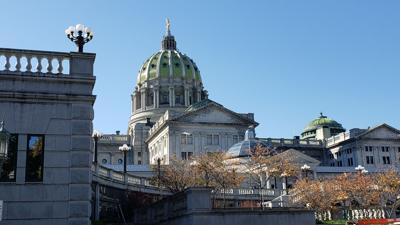 Pennsylvania Capitol in Harrisburg on sunny day in fall - autumn