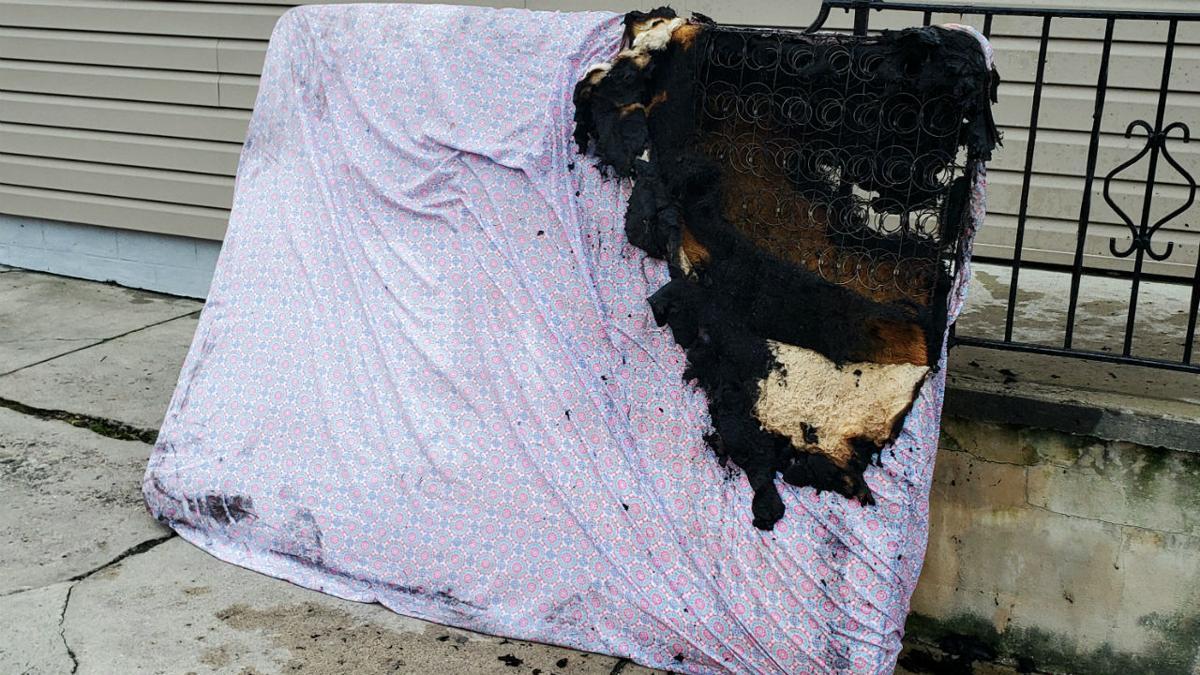 Lansford fire burned mattress