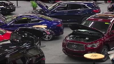 Colorful cars line the floor at Lehigh Valley Auto Show