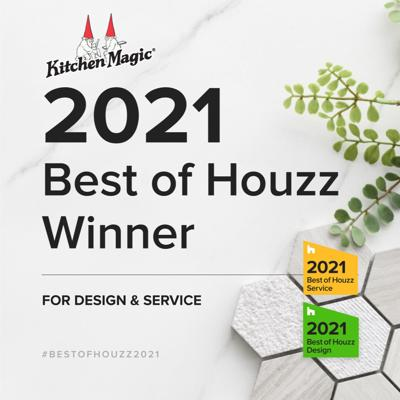 Kitchen Magic Awarded Best Of Houzz 2021 in the Design and Service Categories. This is the kitchen remodeler's 9th accolade for the Service Award. Houzz is a respected community of Remodelers, Designers and Architects.