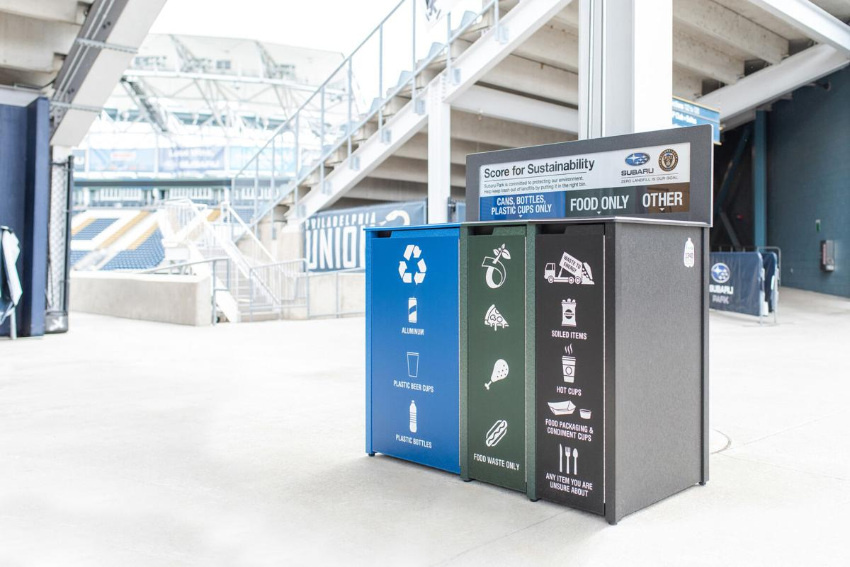 Subaru of America and the Philadelphia Union are committed to protecting our environment by reducing, reusing, and recycling stadium waste. These new, modern front of house three-stream waste containers will help patrons properly dispose of their trash from events at Subaru Park.