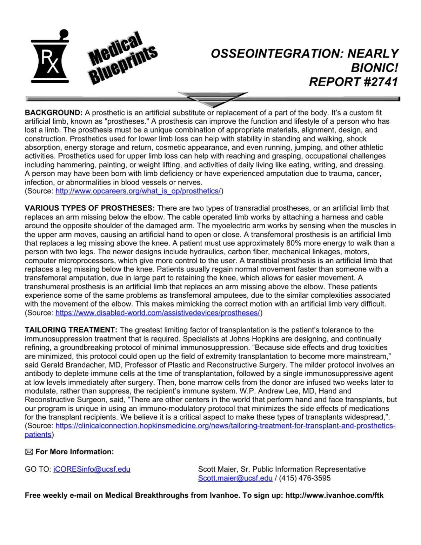 Medical Blueprints: Osseointegration: Nearly bionic