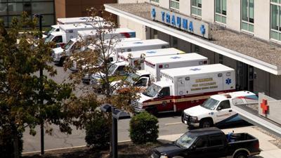 Ambulances outside Reading Hospital emergency room - trauma center