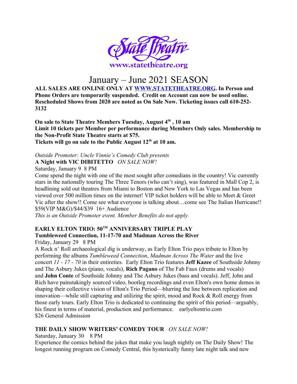 State Theatre Jan-June 2021 season