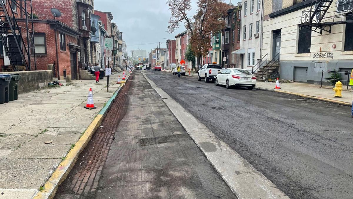 Street paving on South 8th Street in Reading
