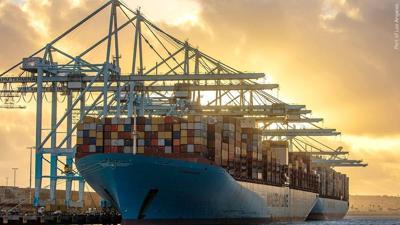Elenora Maersk ship docks at Port of Los Angeles