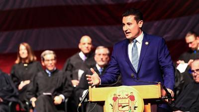 Joseph Gale at podium