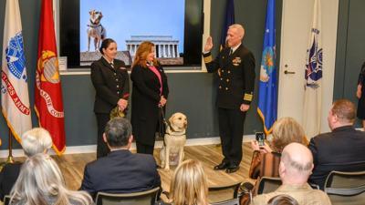 Sully the service dog starts his new job at Walter Reed