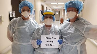 Ashley Furniture donation of hospital gowns