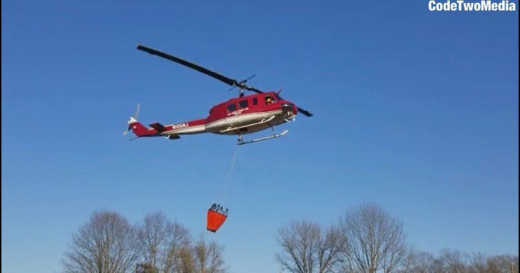 Helicopter helps fight fire at Worthington State Forest