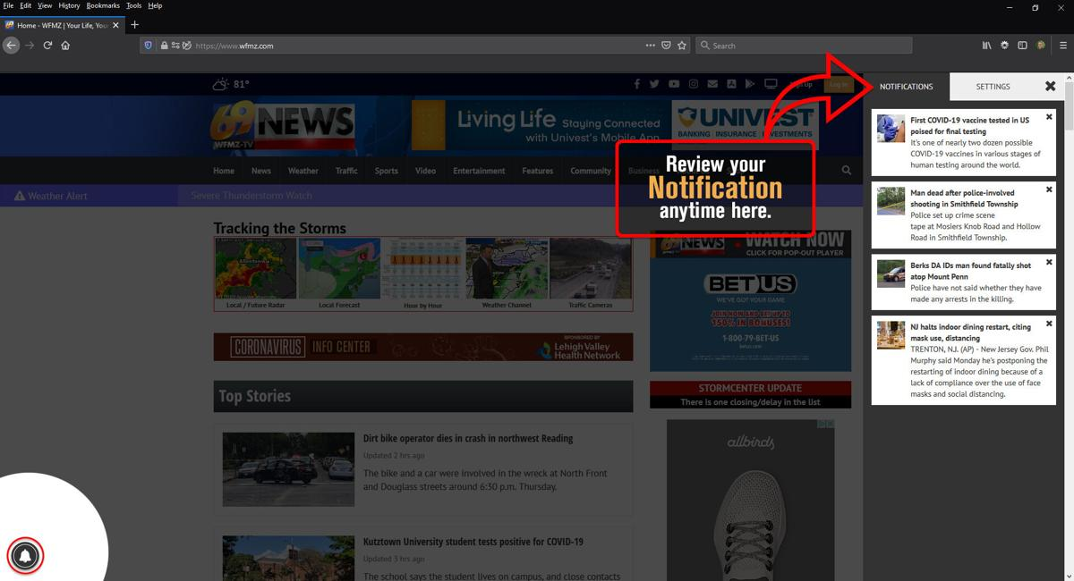 Review your notifications anytime here