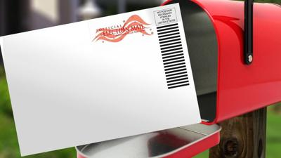 Vote by mail mailbox mail-in ballot graphic generic