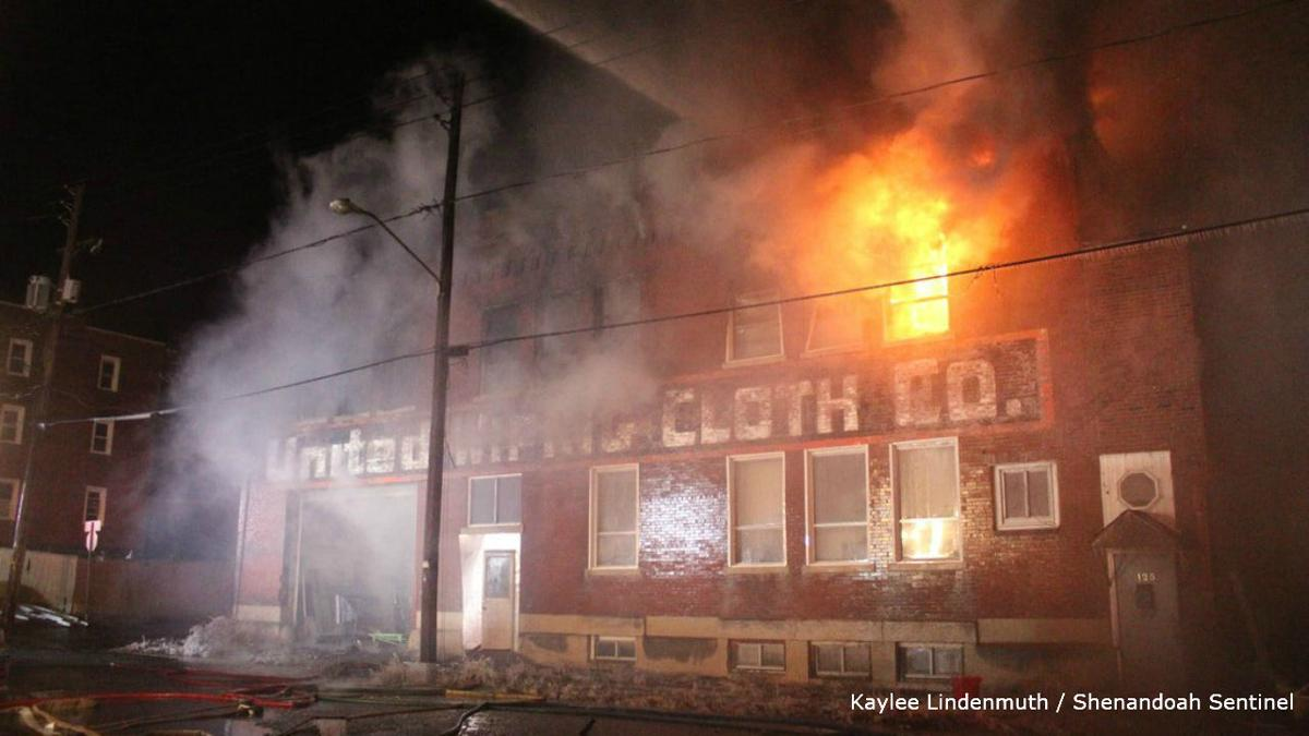 United Wiping Cloth factory fire in Shenandoah _ courtesy Shenandoah Sentinel