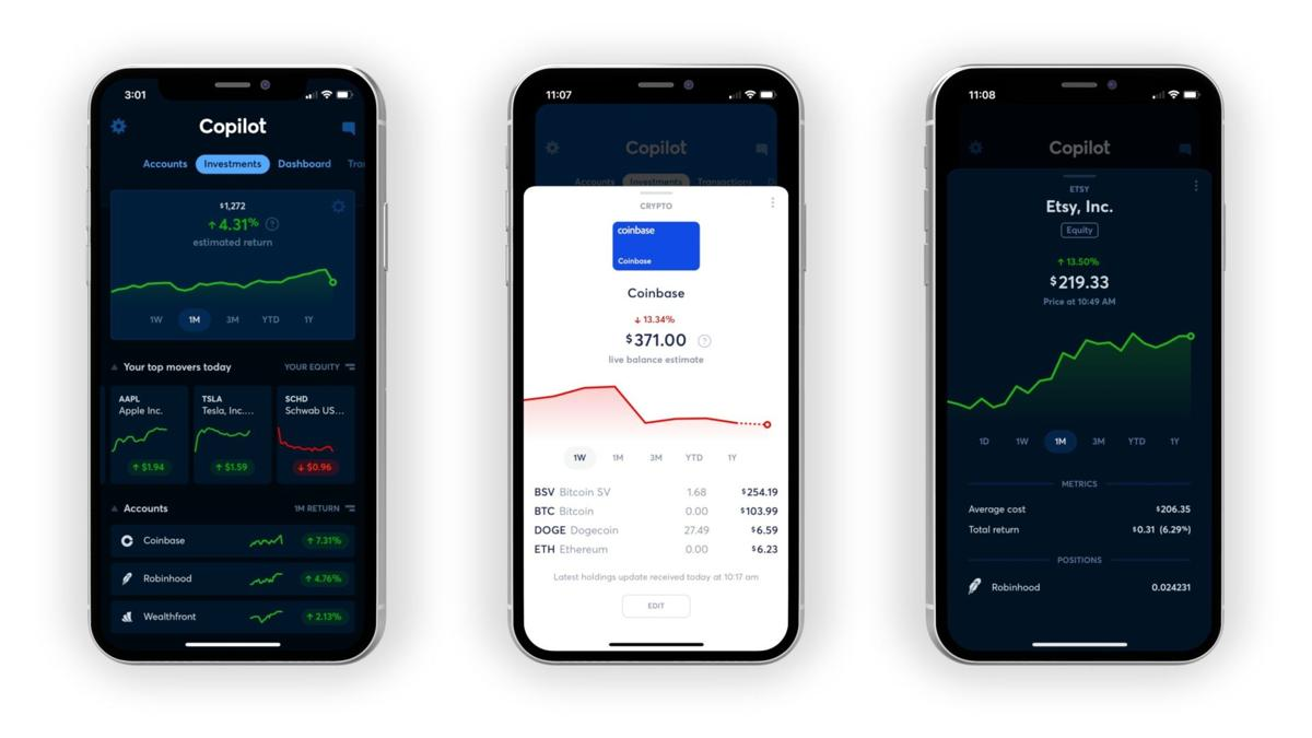 Copilot's new Investments section, shown in both dark and light mode, gives users the ability to navigate their investment data across accounts and services for a holistic picture of their financial standing.