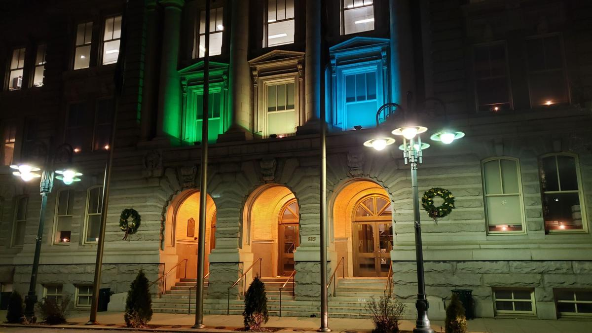 Reading City Hall in lights