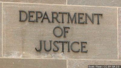 U.S. Justice Department building sign
