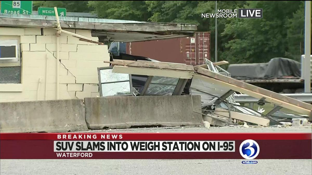 VIDEO: Car slams into weigh station off I-95 in Waterford