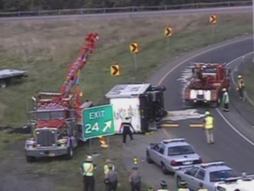 Troopers close Rocky Hill exit after box truck rollover