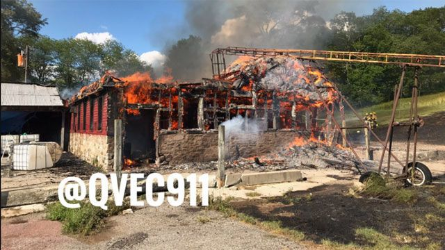 Barn sustains significant damage after fire