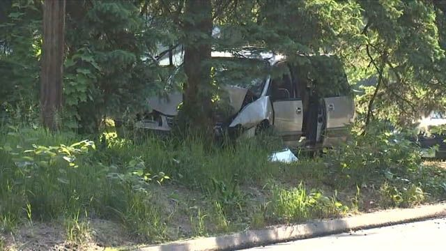 Southington road closed after van crashes into tree