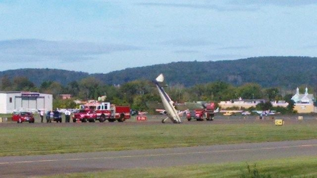 Rough landing puts plane on its nose in Danbury