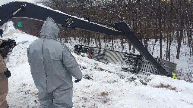 Part of I-84 east in Tolland reopens following chemical truck crash