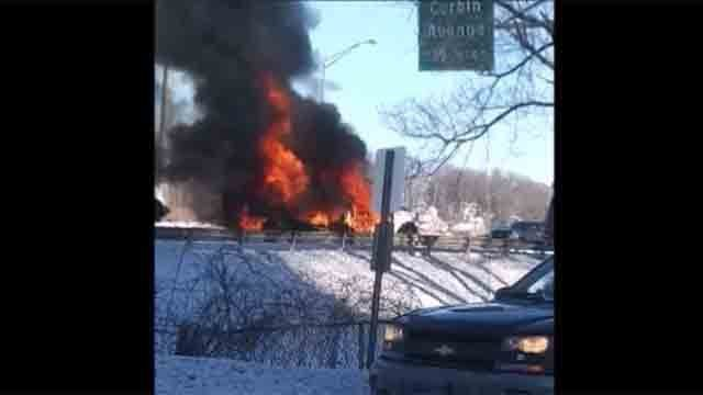 Truck fire causes delays on Route 72