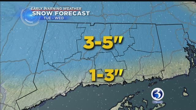 Snow moves into the state Tuesday evening