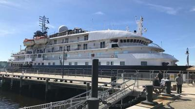 Cruise ship docks in New London for a day