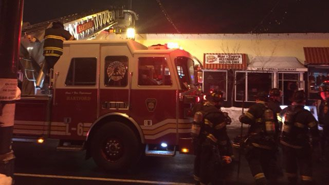 Restaurant fire affecting other nearby businesses in Hartford