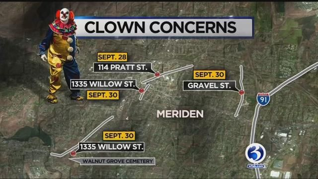 Concerns raised after clown carrying baseball bat spotted in Meriden