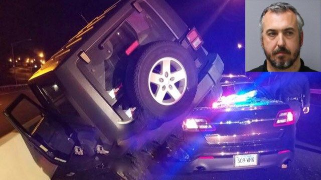 State trooper recovering after suspected drunk driver's Jeep lands on cruiser
