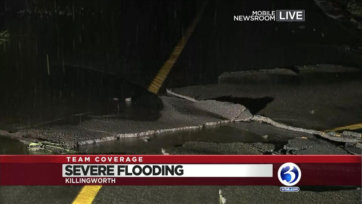 VIDEO: Roads buckle from flooding in Killingworth