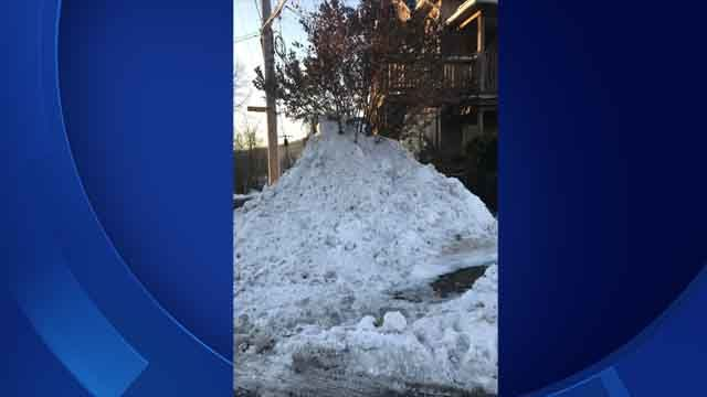 Apartment complex dumped mounds of snow on woman's property