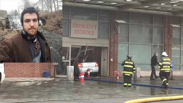 Officials identify man who drove into Middlesex Hospital, lit self on fire