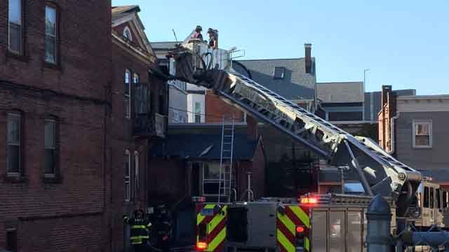 Building damaged after fire in New Haven