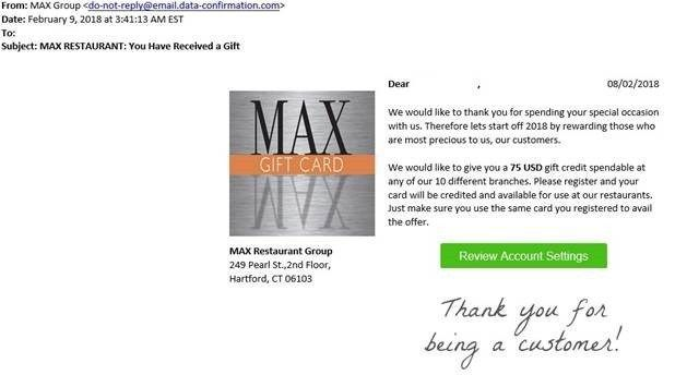 Max Restaurant Group warns of online scam