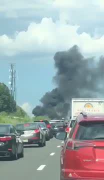 Eyewitness video: Car fire closes I-84 west in Middlebury