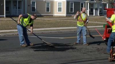 Warm weather is perfect for crews to repair potholes