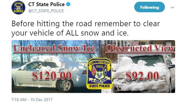 State police issue warning for drivers to clear snow