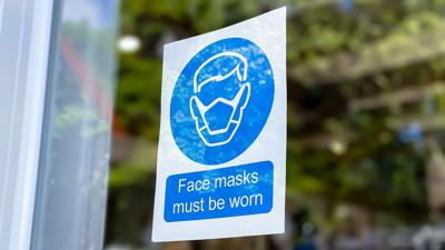 Face mask sign window