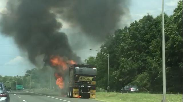 Garbage truck fire closes part of Route 9