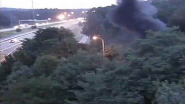 Car fire closes ramp, causes visibility issues in Windsor
