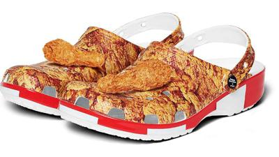 KFC and Crocs created a clog that's covered in fried chicken with a charm that smells like it, too