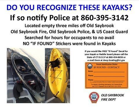 Kayakers urged to use If Found stickers after unattended kayaks found