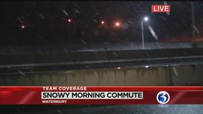 Snow comes down along I-84 in Waterbury