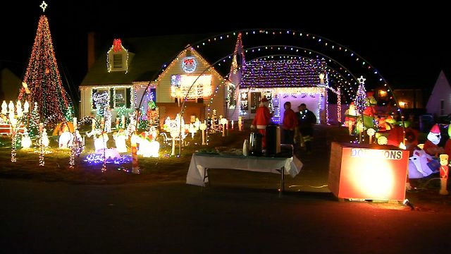 plainville home aglow with holiday lights for a special reason