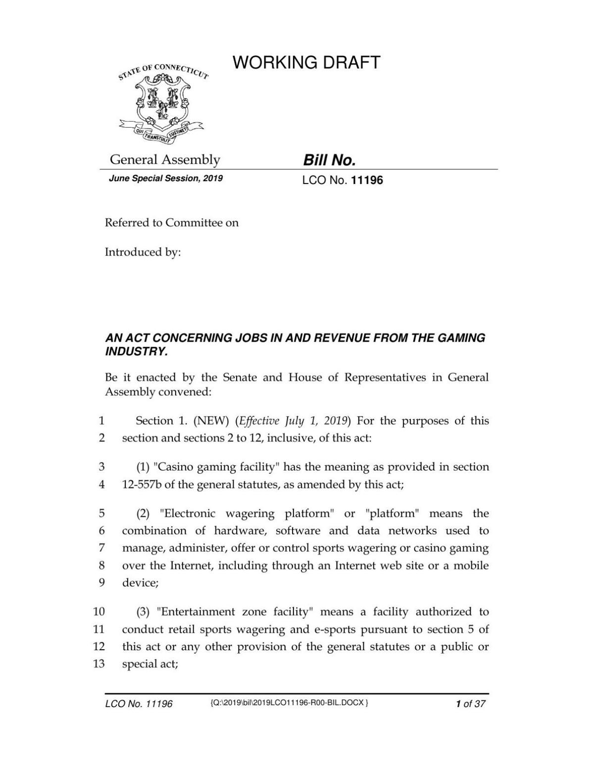 An Act Concerning Jobs In and Revenue from the Gaming Industry
