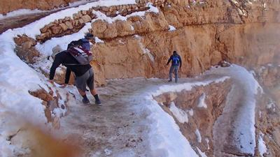 Grand Canyon officials warn of icy trails after photo of hikers goes viral