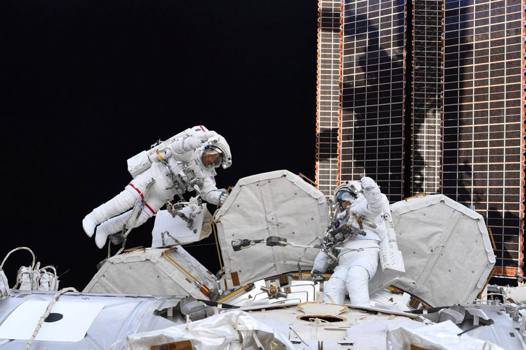 NASA Astronauts Victor Glover and Mike Hopkins Conduct Spacewalk